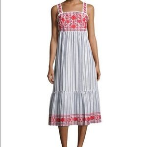 kate spade new york stripe embroidered dress L NWT